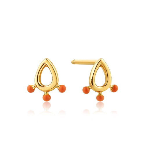 Earrings: Gold Dotted Raindrop Stud Earrings by Ania Haie Australia