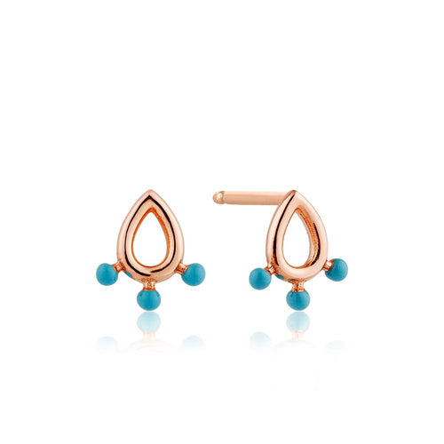 Earrings: Rose Gold Dotted Raindrop Stud Earrings by Ania Haie Australia