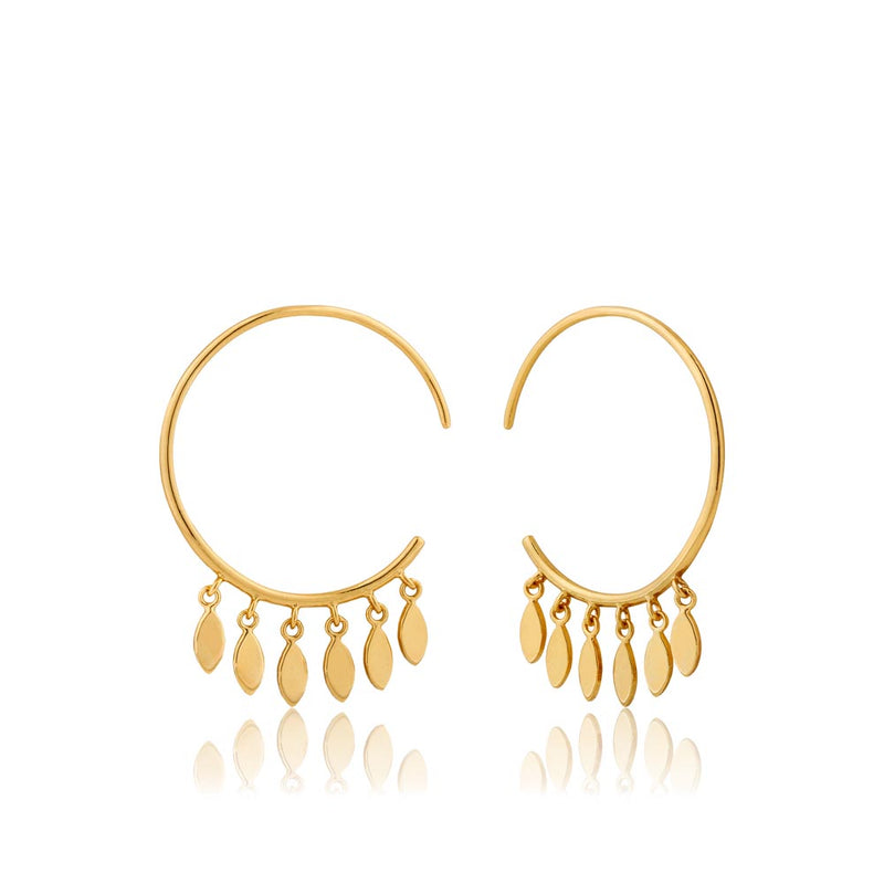Earrings: Gold Multi-Drop Hoop Earrings by Ania Haie Australia