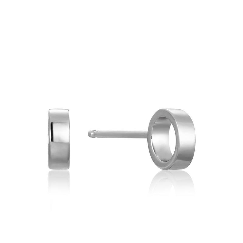 Earrings: Silver Open Circle Stud Earrings by Ania Haie Australia