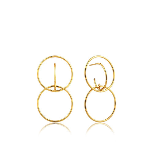 Earrings: Double Circle Front Earrings by Ania Haie Australia