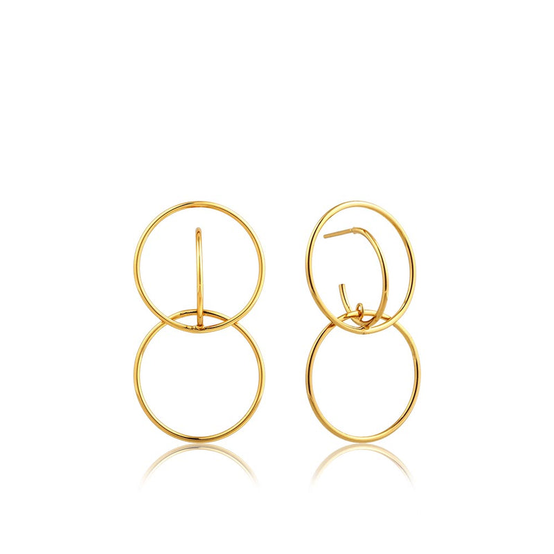 Double Circle Front Earrings - Ania Haie Jewellery