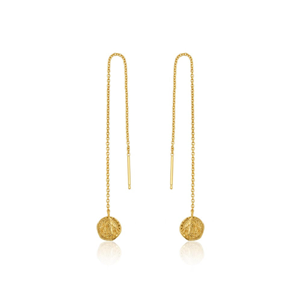 Gold Deus Threader Earrings