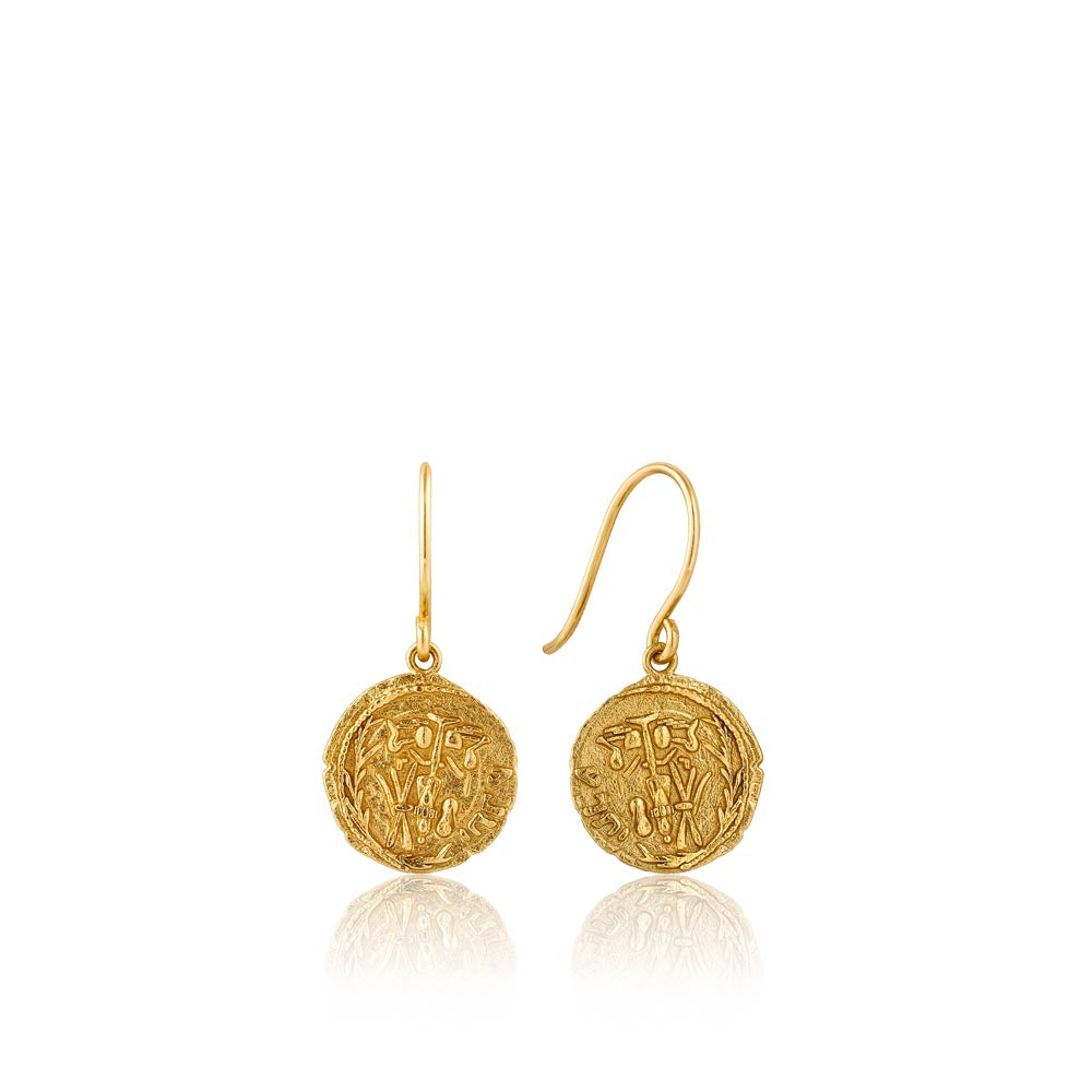 Gold Emblem Hook Earrings