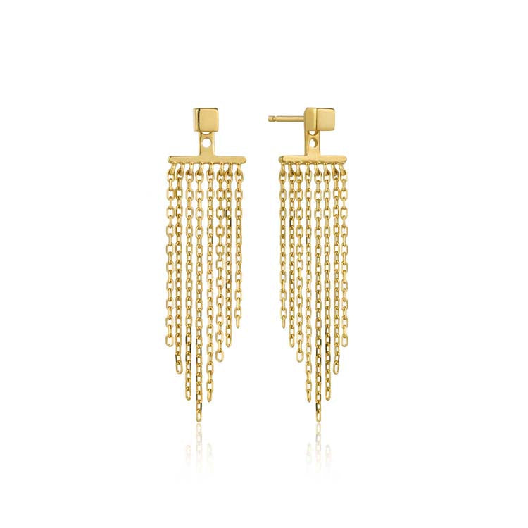 Earrings: Gold Fringe Fall Ear Jackets by Ania Haie Australia