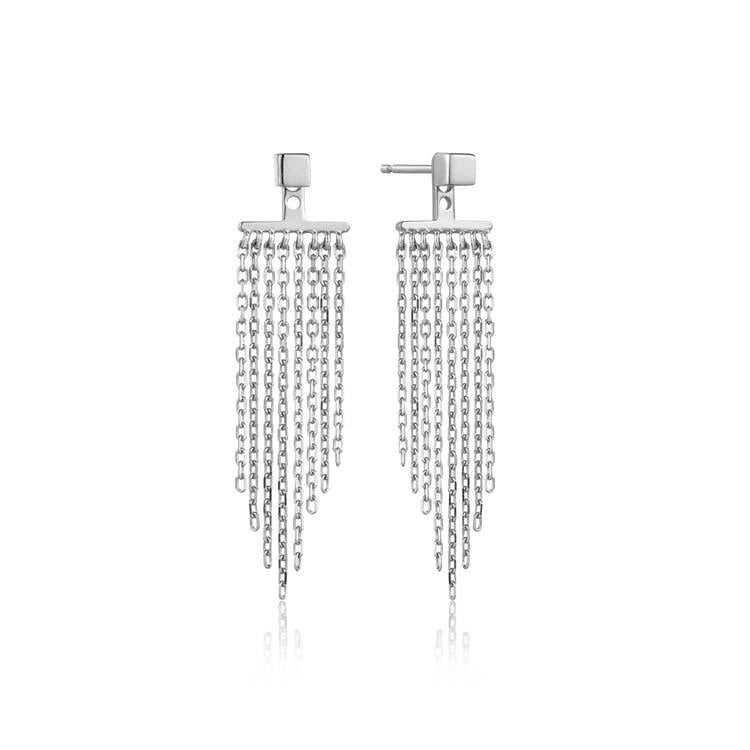 Earrings: Silver Fringe Fall Ear Jackets by Ania Haie Australia