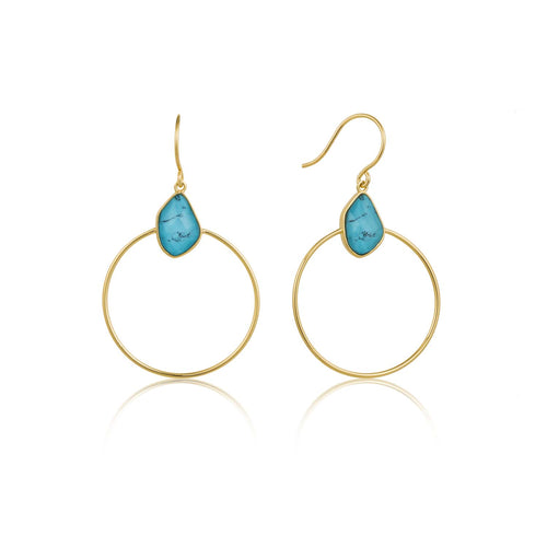 Earrings: Gold Turquoise Front Hoop Earrings by Ania Haie Australia
