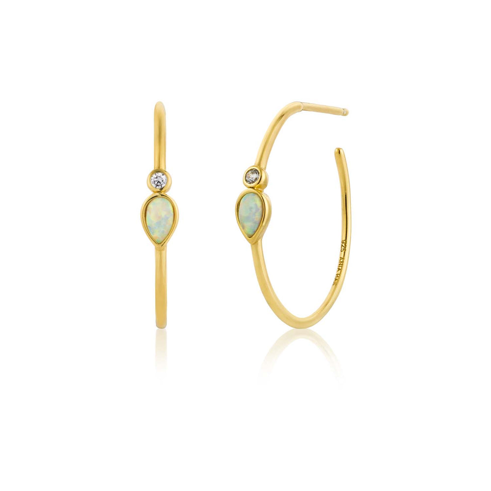 Load image into Gallery viewer, Opal Colour Raindrop Hoop Earrings - Ania Haie Jewellery