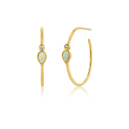 Opal Colour Raindrop Hoop Earrings - Ania Haie Jewellery