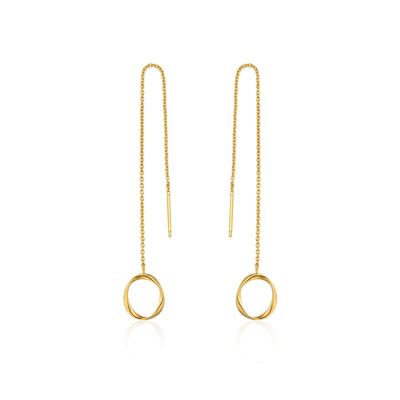 Earrings: Gold Swirl Threader Earrings by Ania Haie Australia