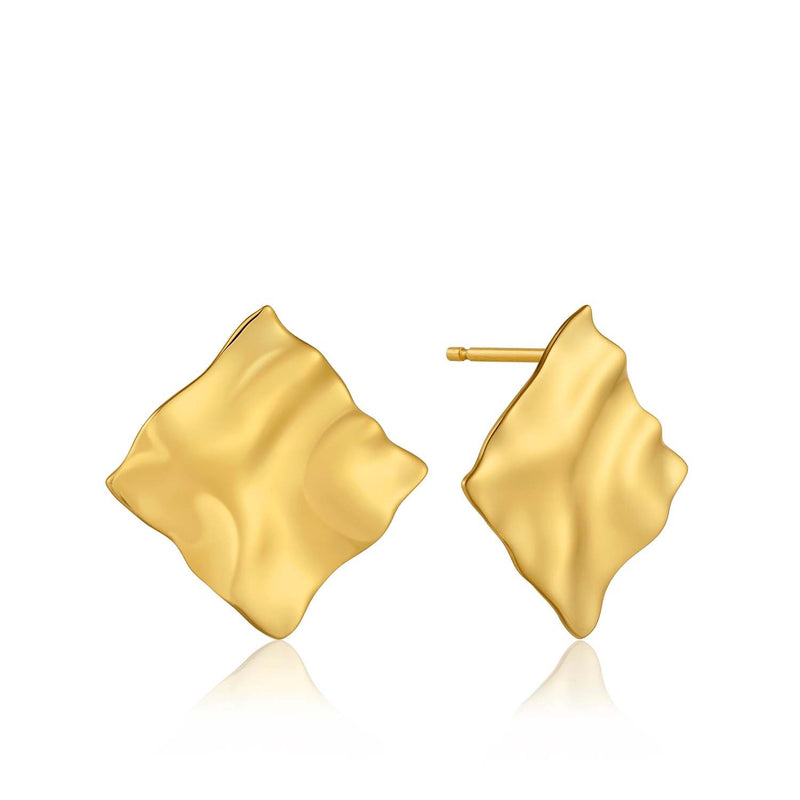 Earrings: Gold Crush Square Stud Earrings by Ania Haie Australia