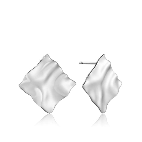 Earrings: Silver Crush Square Stud Earrings by Ania Haie Australia