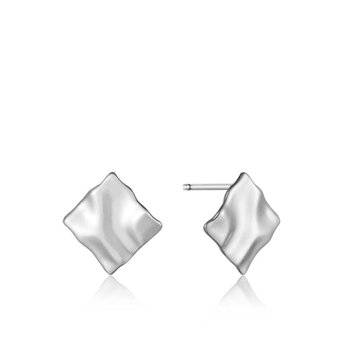 Earrings: Silver Crush Mini Square Stud Earrings by Ania Haie Australia