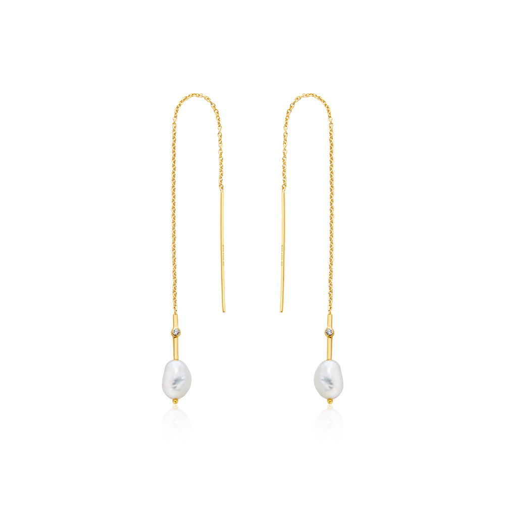 Gold Pearl Threader Earrings