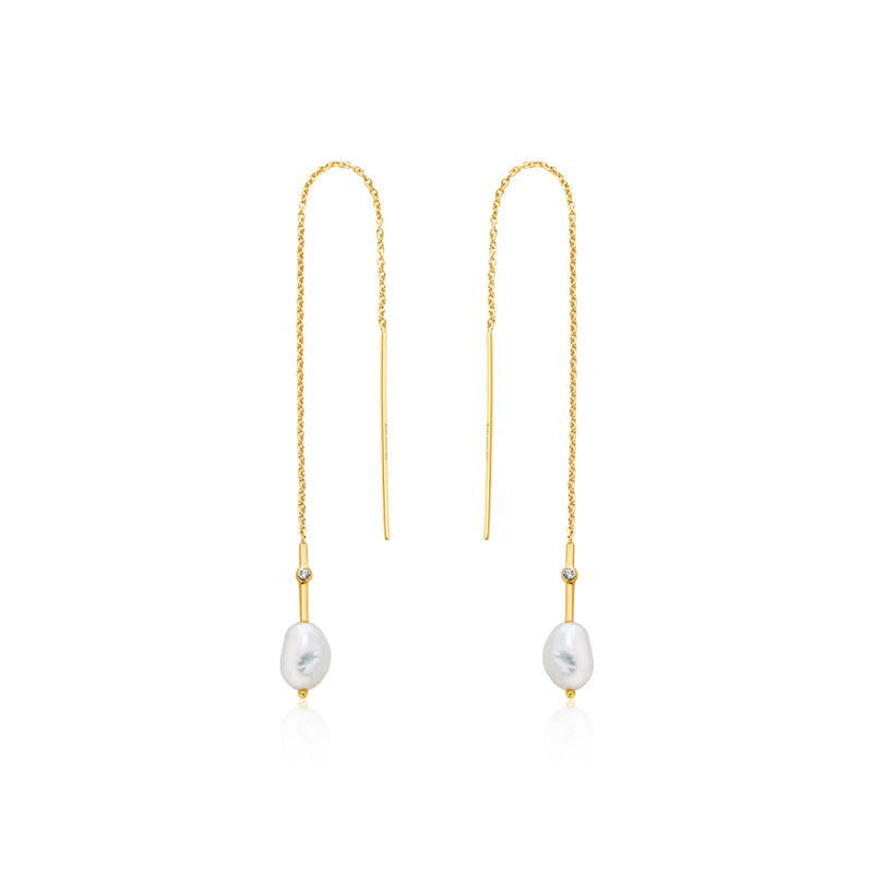 Pearl Threader Earrings Gold by Ania Haie