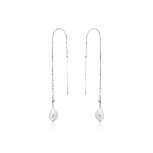 Pearl Threader Earrings Silver by Ania Haie