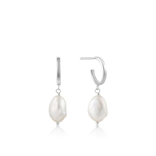 Pearl Mini Hoop Earrings Silver by Ania Haie