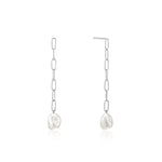 Silver Pearl Chunky Drop Earrings