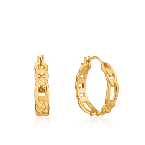 Earrings: Gold Figaro Chain Hoop Earrings by Ania Haie Australia