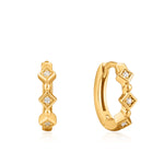 Earrings: Gold Sparkle Huggie Hoops by Ania Haie Australia