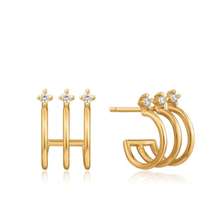 Triple Mini Hoop Stud Earrings - Ania Haie Jewellery
