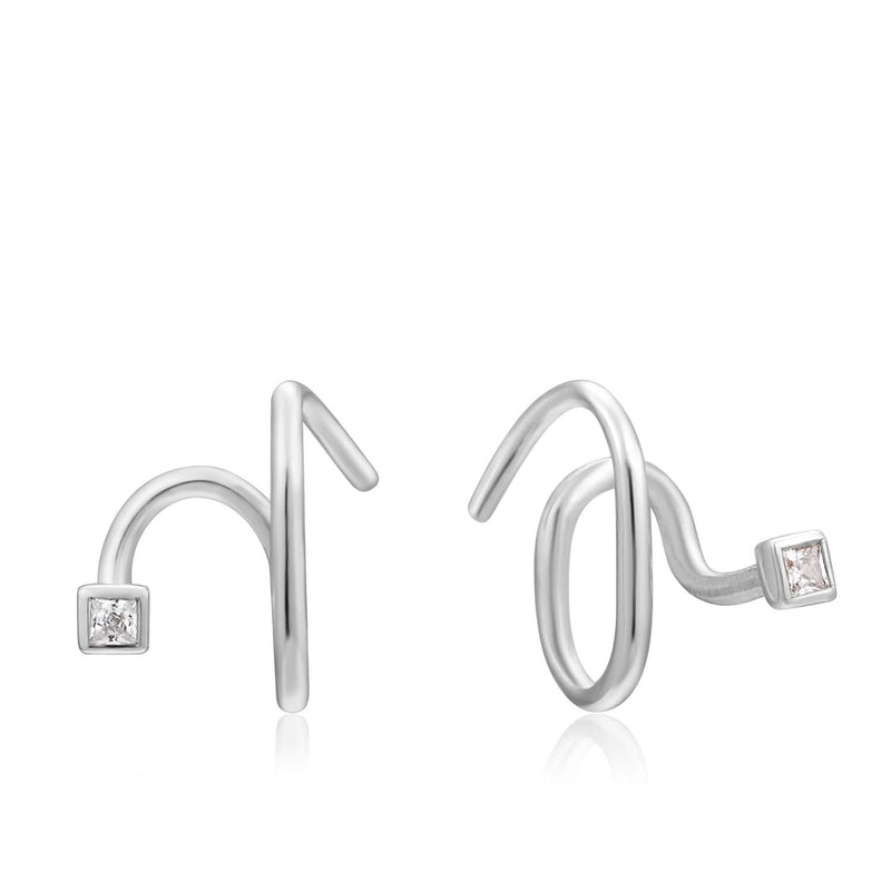 Earrings: Silver Twist Square Sparkle Earrings by Ania Haie Australia