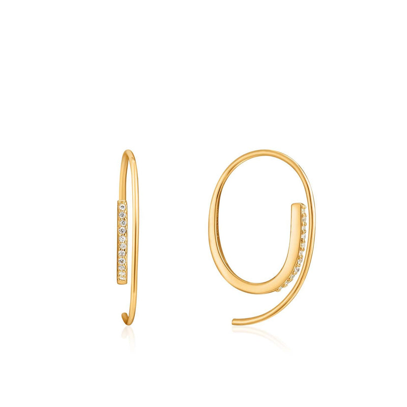 Earrings: Gold Twist Through Sparkle Earrings by Ania Haie Australia