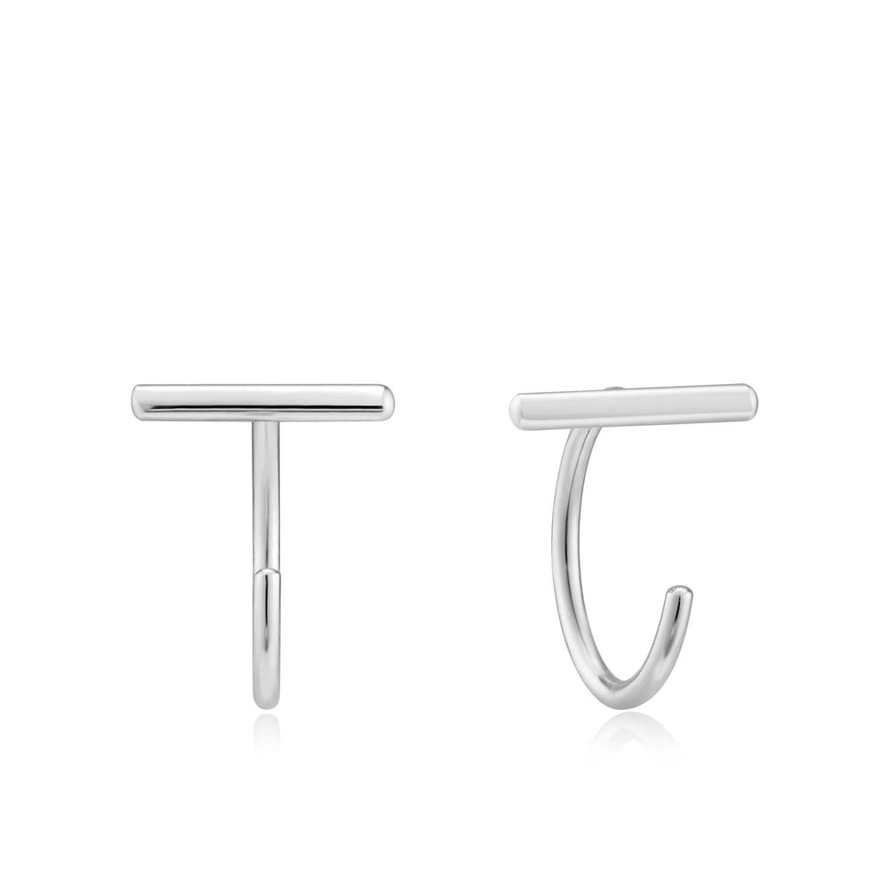Silver T-Bar Twist Earrings