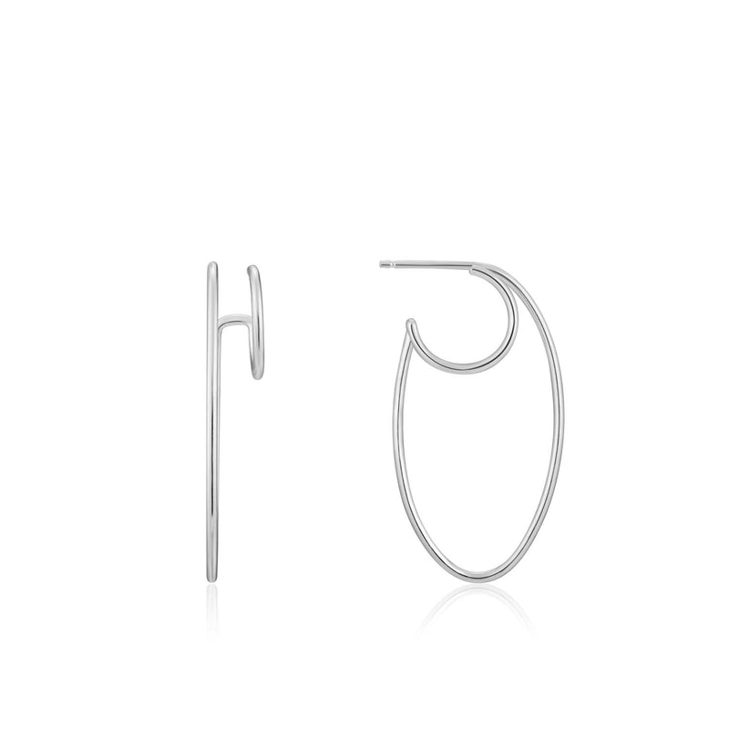 Earrings: Silver Oval Double Hoop Earrings by Ania Haie Australia
