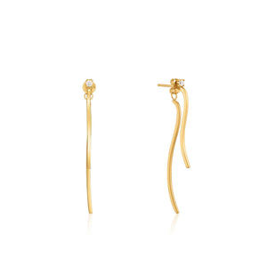 Earrings: Gold Curve Drop Bar Ear Jackets by Ania Haie Australia