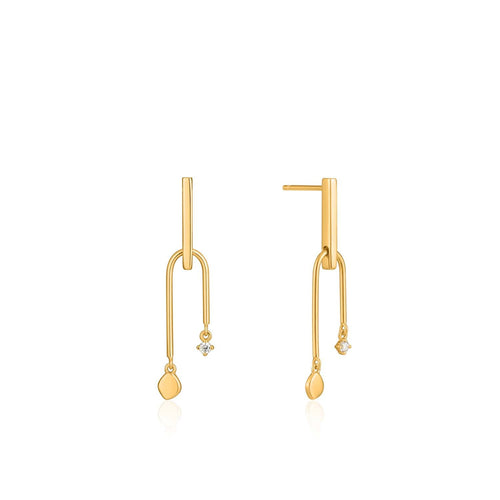 Earrings: Gold Double Drop Stud Earrings by Ania Haie Australia