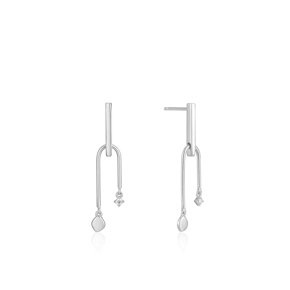 Silver Double Drop Stud Earrings