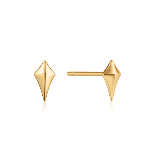 Earrings: Gold Diamond Shape Stud Earrings by Ania Haie Australia
