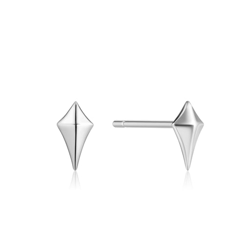 Earrings: Silver Diamond Shape Stud Earrings by Ania Haie Australia