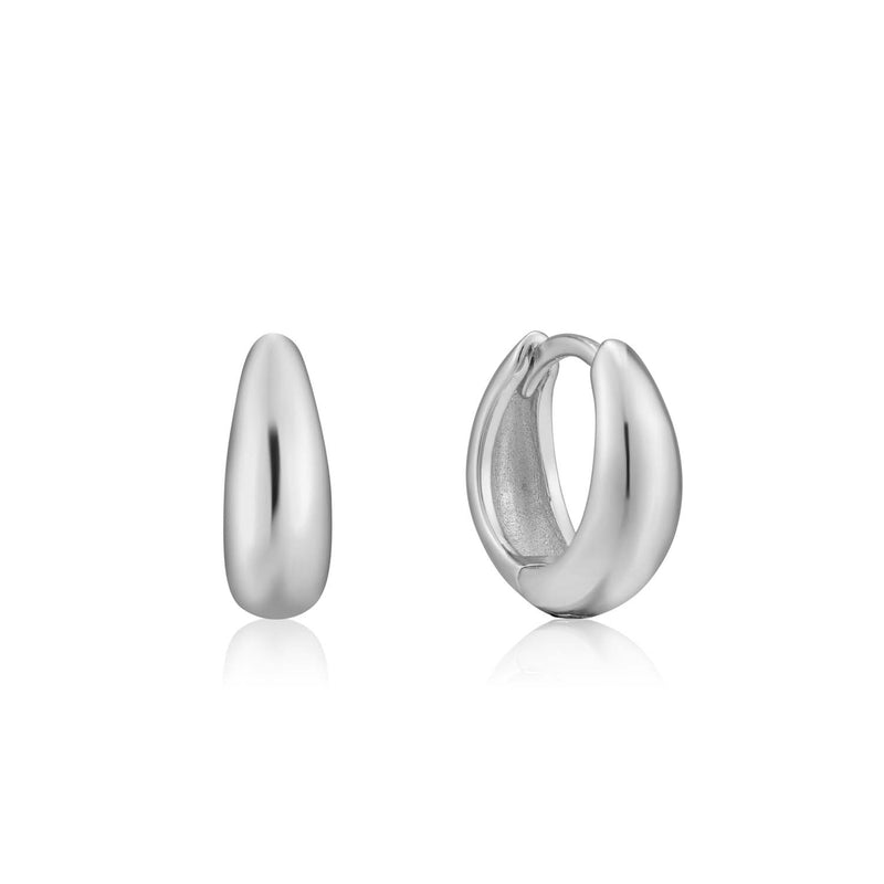 Earrings: Silver Luxe Huggie Hoop Earrings by Ania Haie Australia