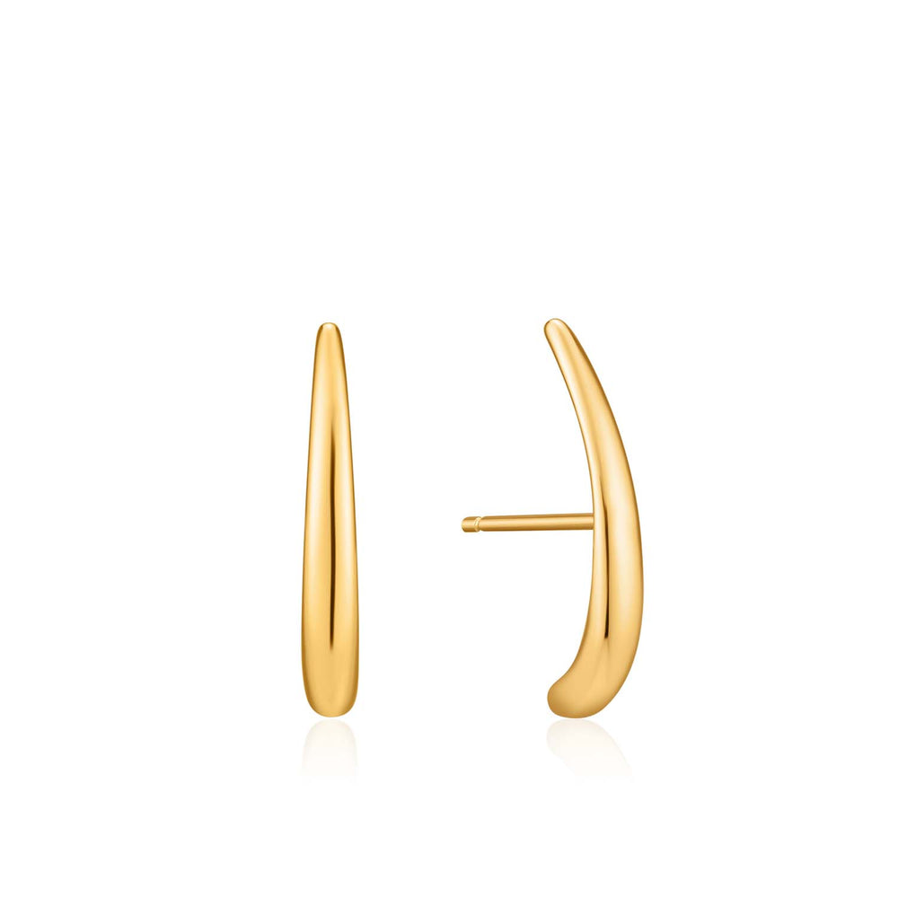 Gold Luxe Lobe Hook Stud Earrings