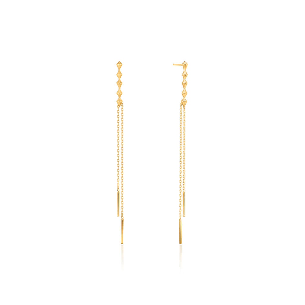 Gold Spike Double Drop Earrings by Ania Haie