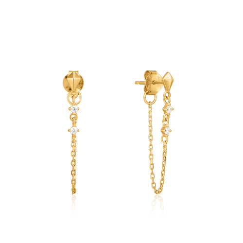 Gold Spike Chain Stud Earrings by Ania Haie