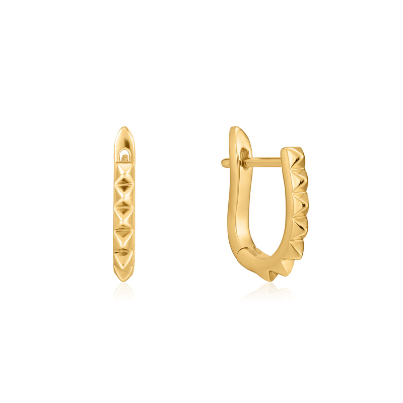 Gold Spike Huggie Hoop Earrings by Ania Haie