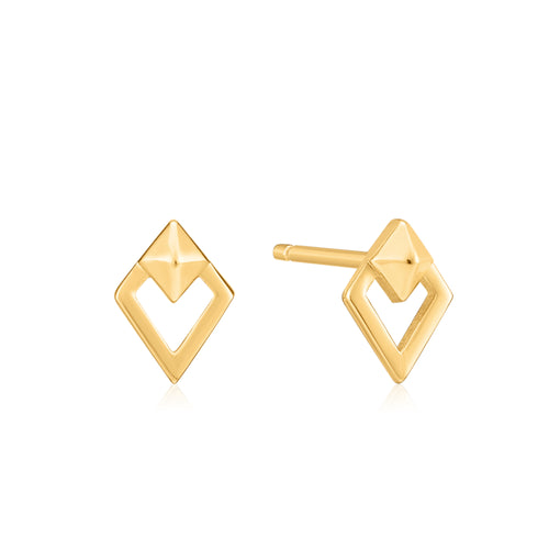Gold Spike Diamond Stud Earrings by Ania Haie