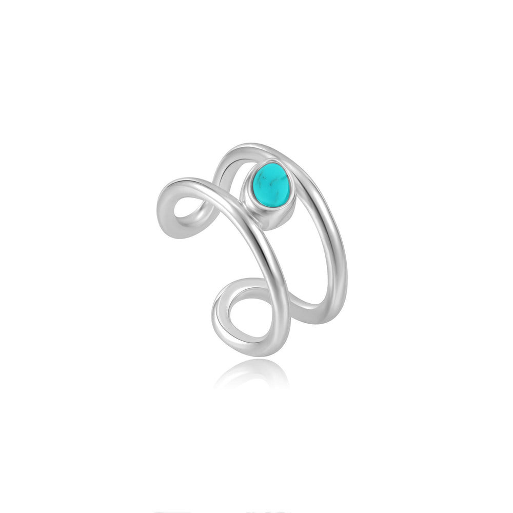 Load image into Gallery viewer, Ania Haie Silver Tidal Turquoise Ear Cuff