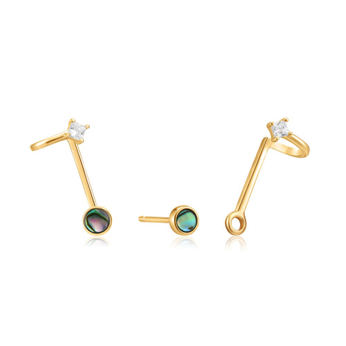 Ania Haie Gold Tidal Abalone Double Stud Earrings
