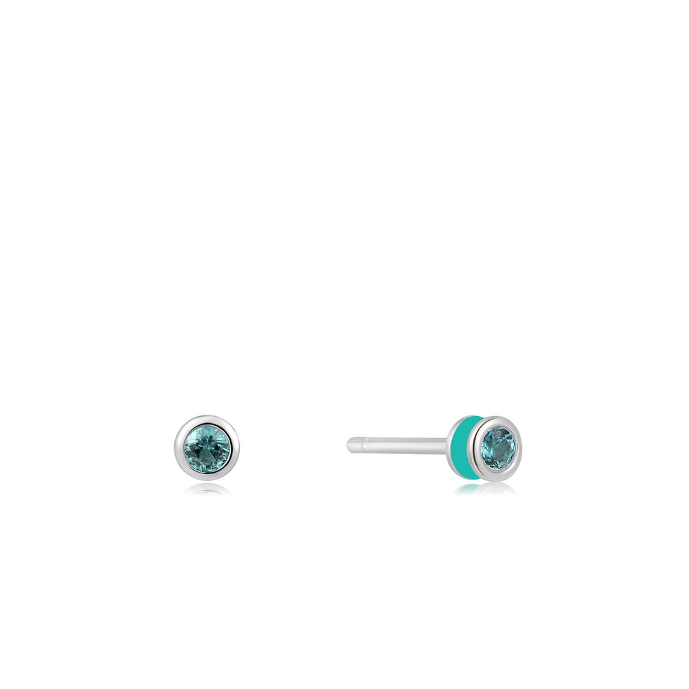 Teal Enamel Silver Stud Earrings