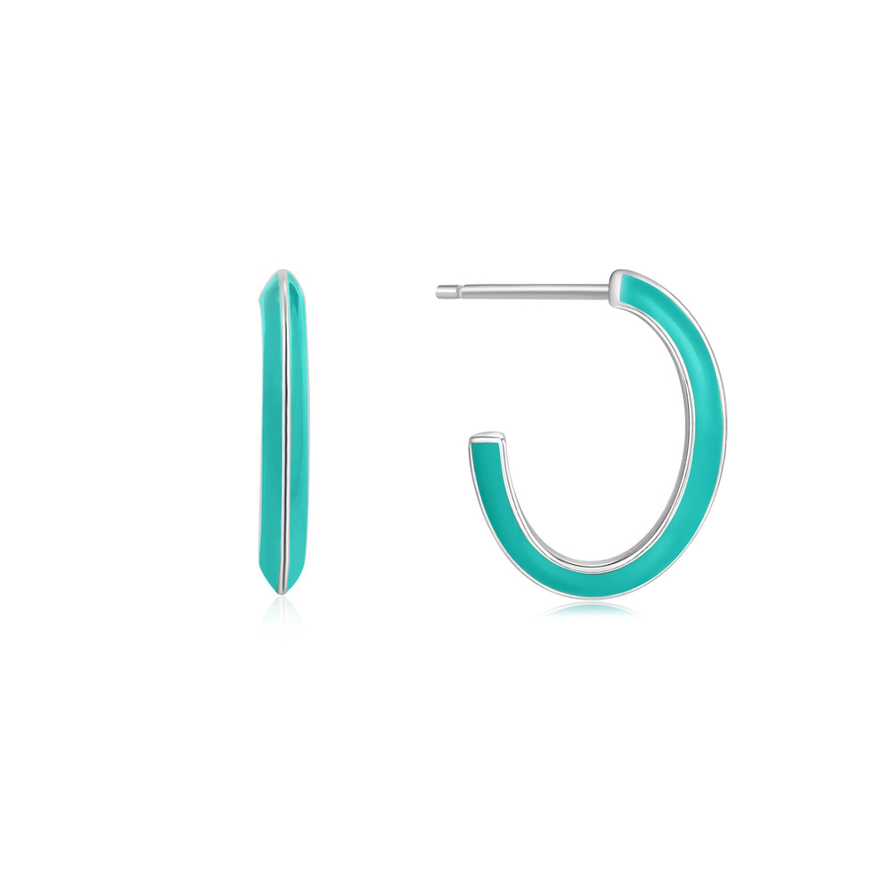 Teal Enamel Thick Silver Hoop Earrings