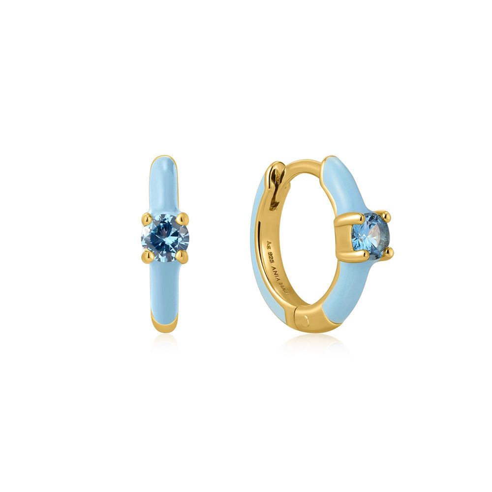 Powder Blue Enamel Gold Huggie Hoop Earrings