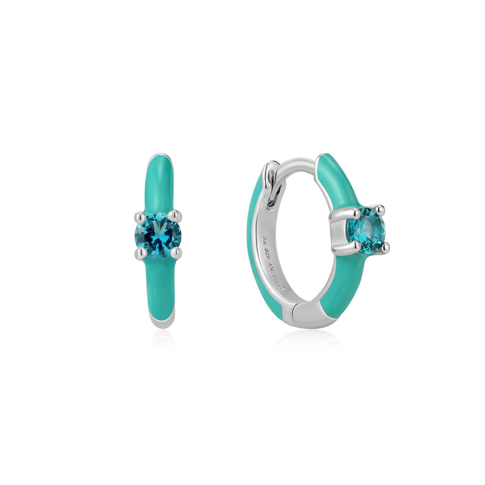 Teal Enamel Silver Huggie Hoop Earrings
