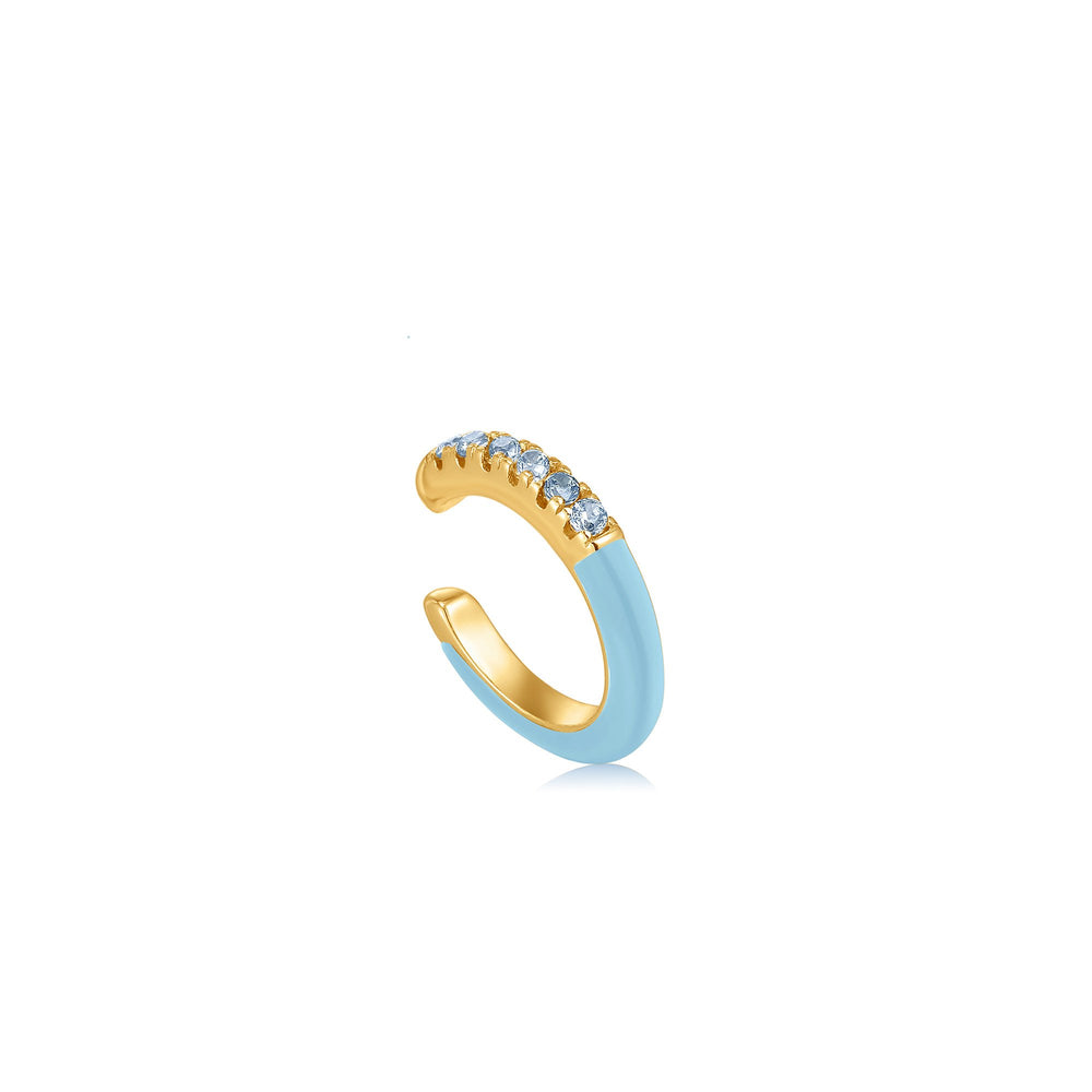 Load image into Gallery viewer, Powder Blue Enamel Gold Ear Cuff | Ania Haie Australia