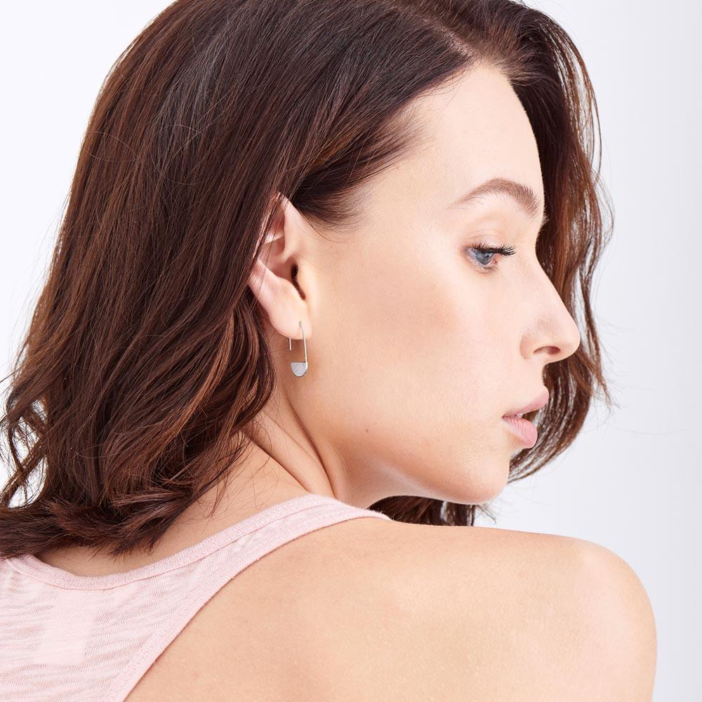 Earrings: Silver Geometry Drop Earrings by Ania Haie Australia