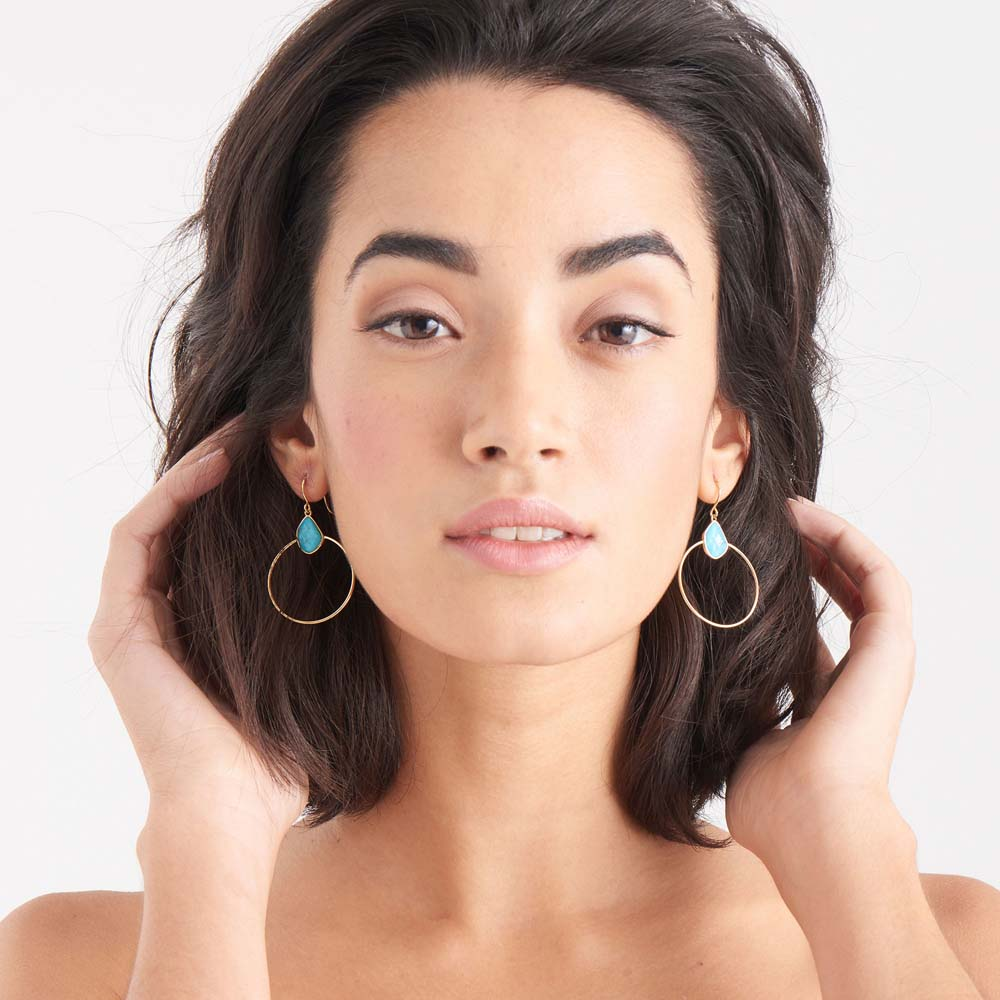 Load image into Gallery viewer, Earrings: Gold Turquoise Front Hoop Earrings by Ania Haie Australia