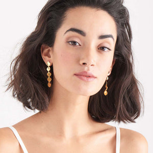 Load image into Gallery viewer, Earrings: Gold Crush Multiple Discs Rop Earrings by Ania Haie Australia